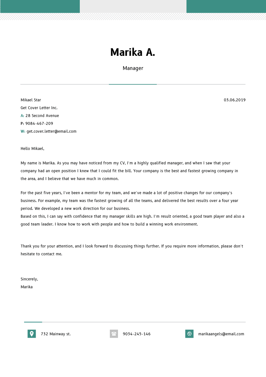 image of a cover letter for a 3d artist