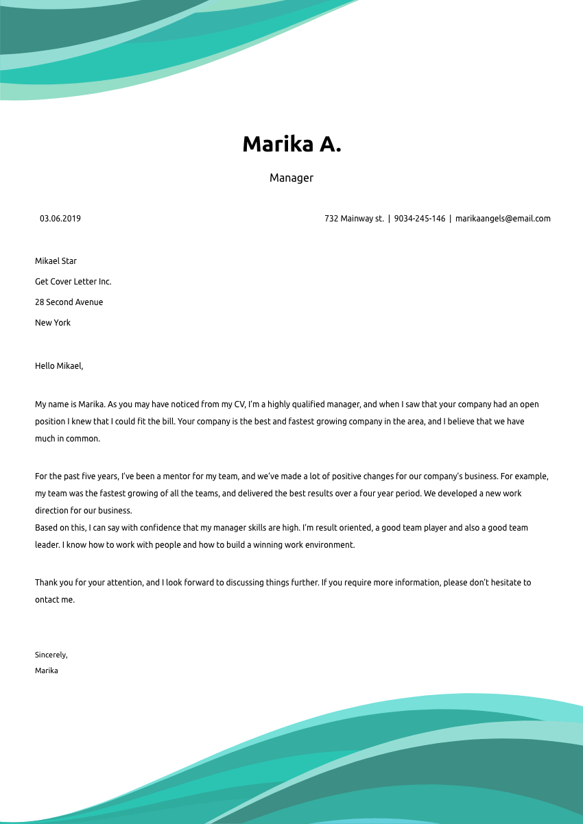 image of a cover letter for a chemical engineer